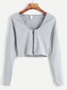 Pale Grey Zip Up Front Crop T-shirt