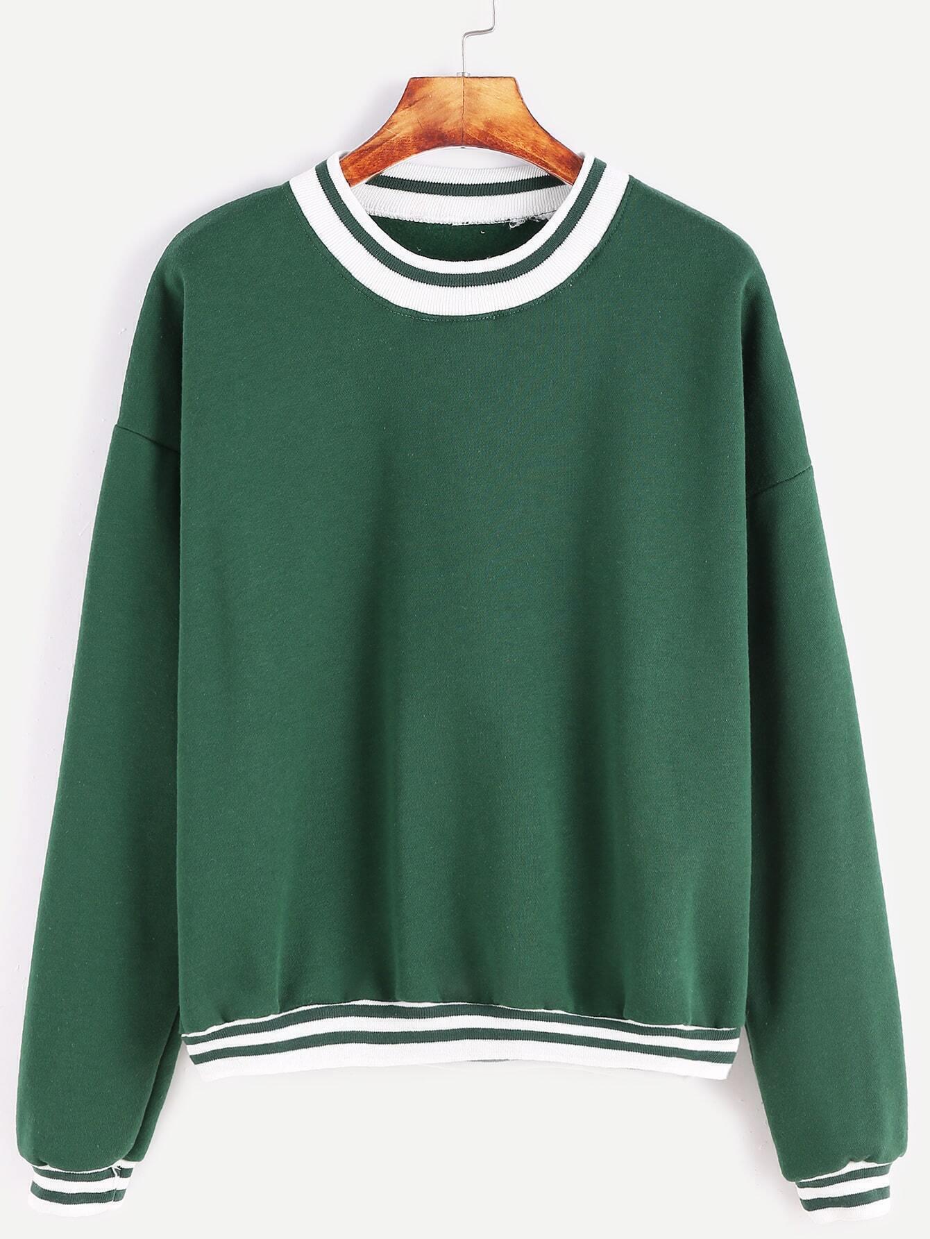 Green Contrast Striped Trim Dropped Shoulder Seam Sweatshirt
