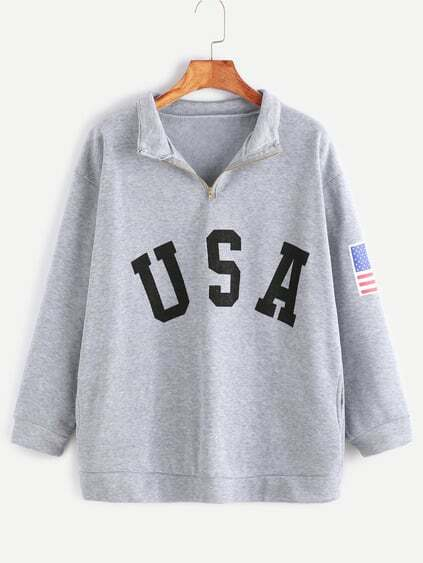 Heather Grey USA Print Zip Detail Pocket Sweatshirt