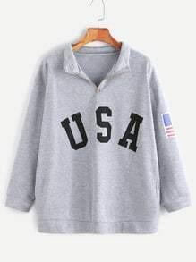 Sweat-shirt imprimé USA zippé détail avec poches -gris bruyère
