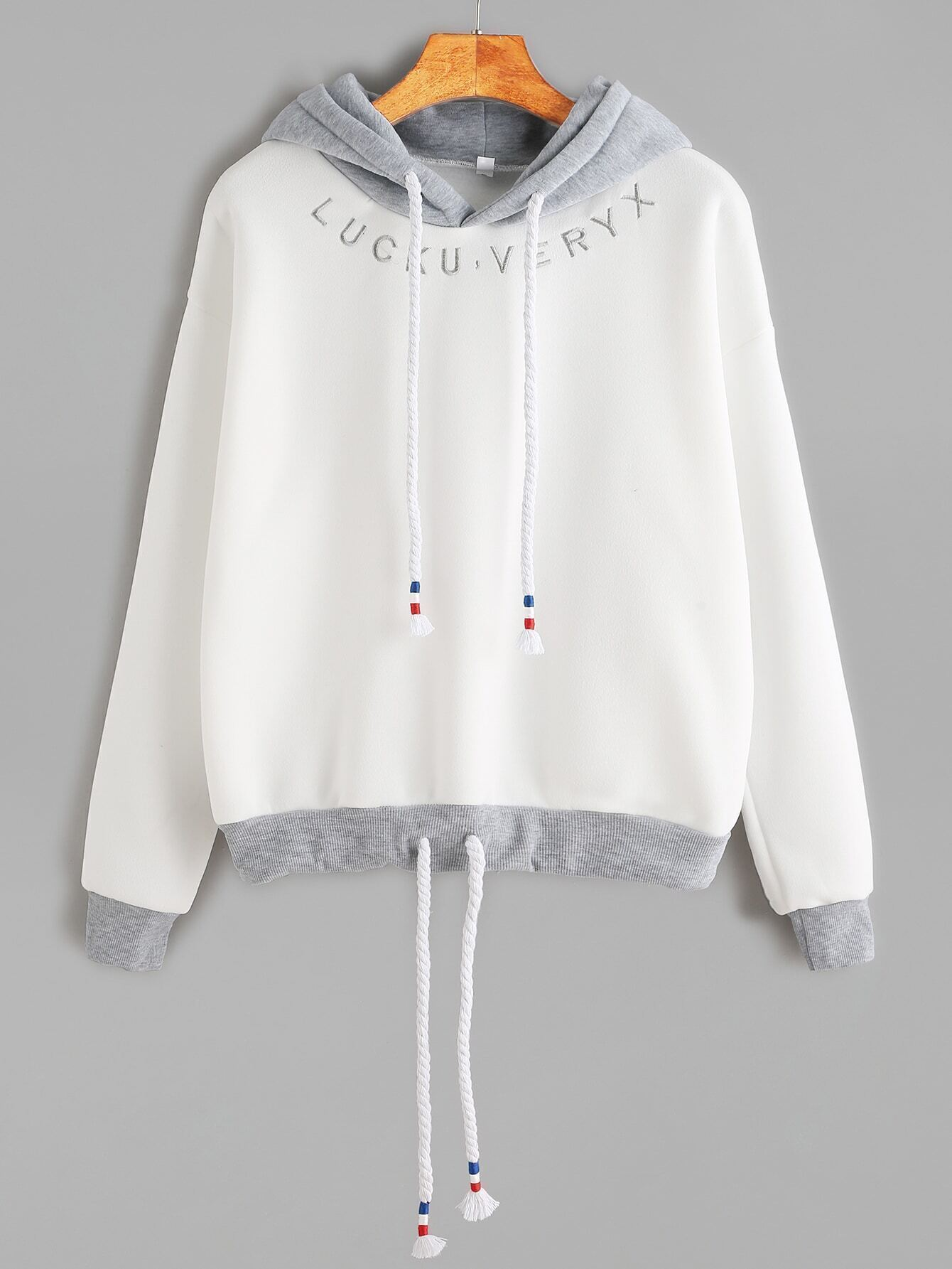 White Contrast Trim Letter Embroidery Drawstring Hooded Sweatshirt