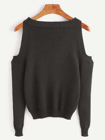 Pullover Langarm Cut-Outs Schulter-schwarz
