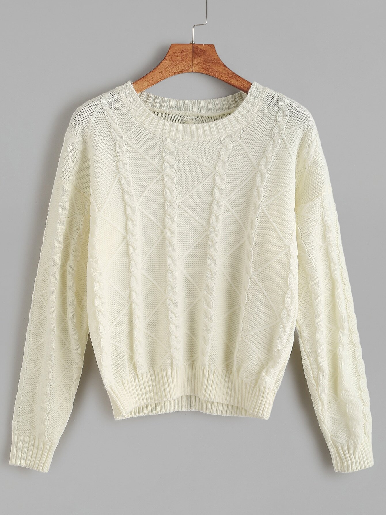 Knitting Sweaters In The Round : White round neck cable knit sweaterfor women romwe