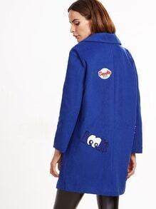 Royal Blue Single Button Patches Coat