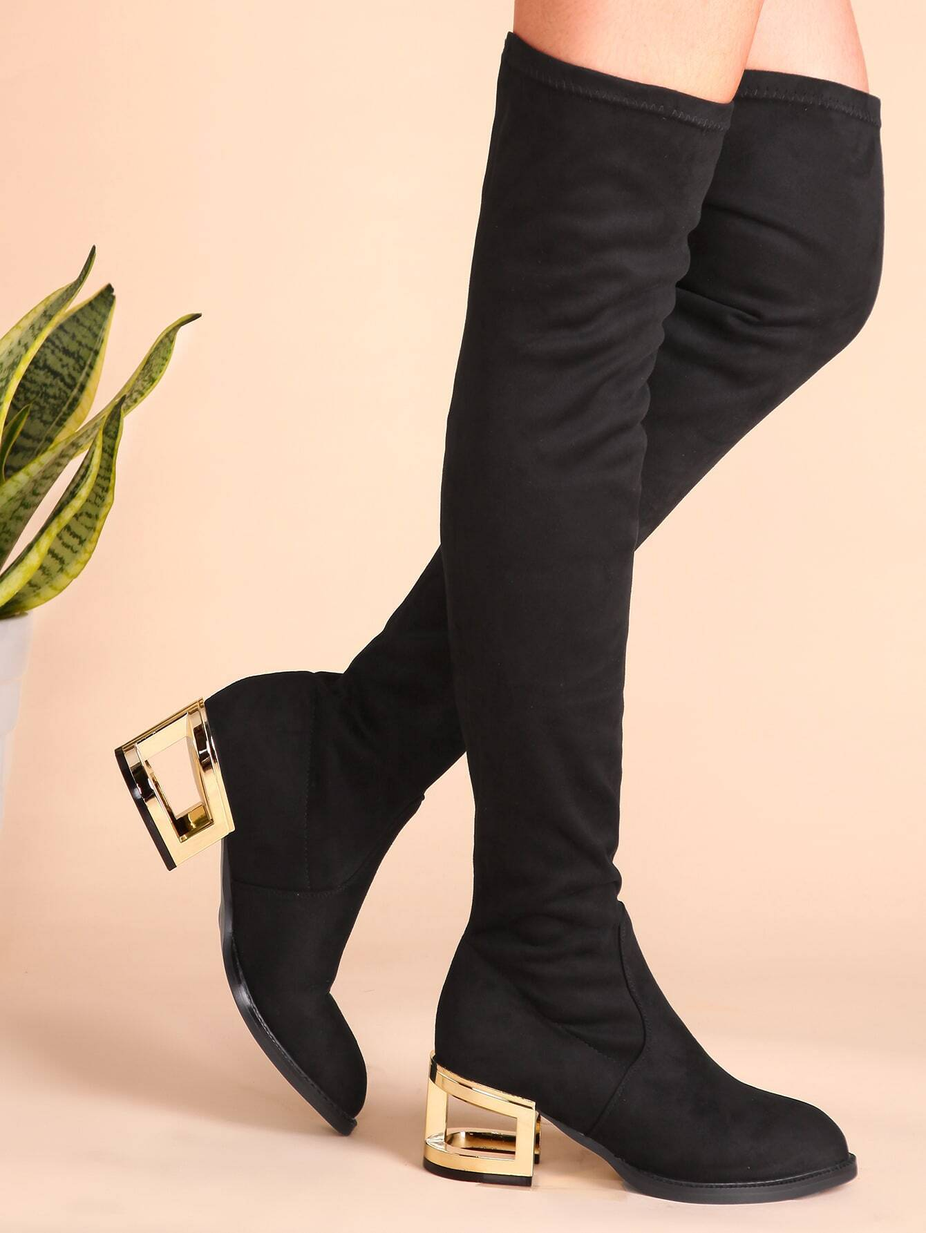 black suede point toe thigh high boots with cut out heel
