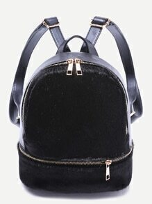Black Faux Fur Covered Zip Front Backpack