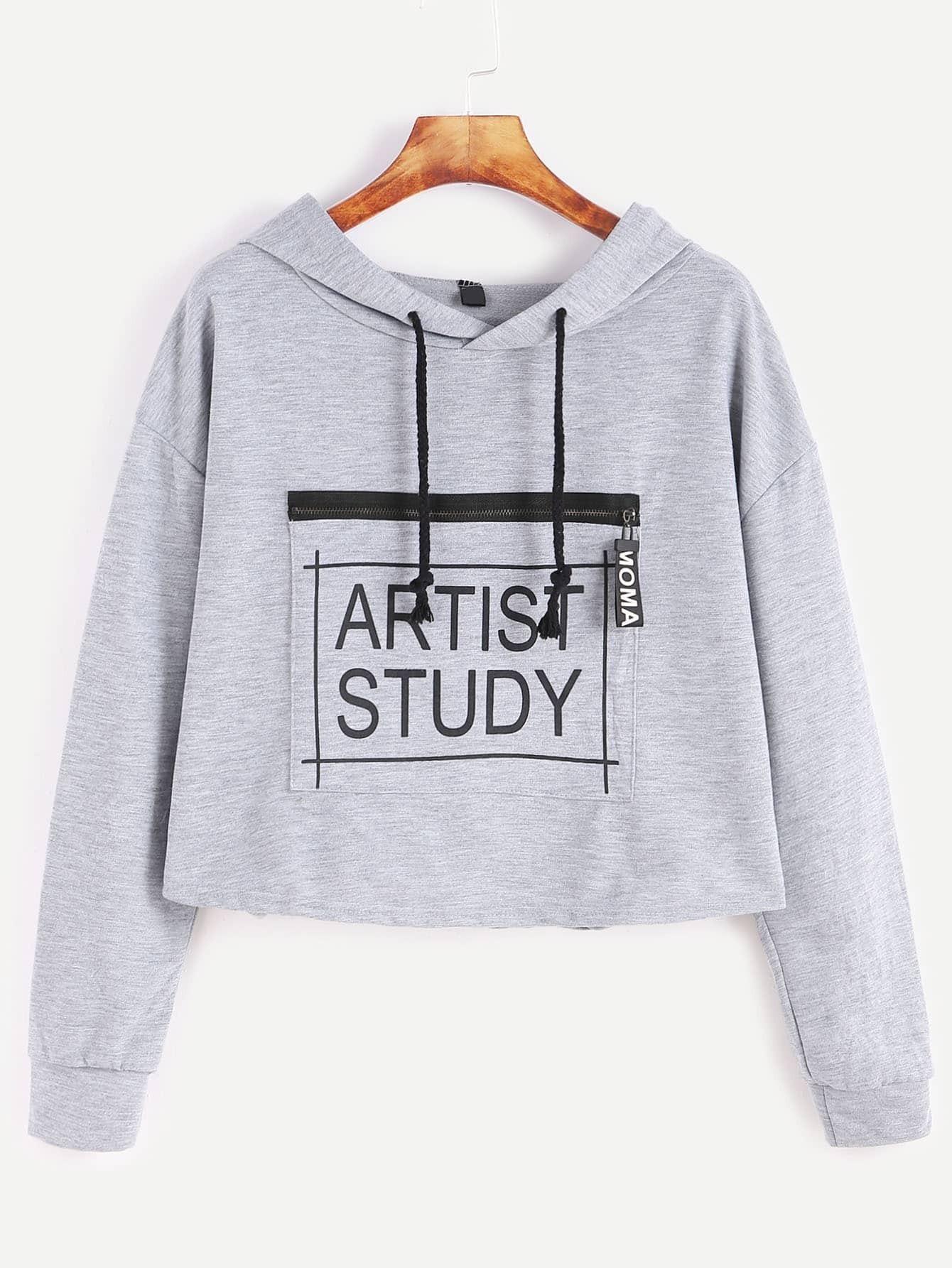 Grey Letter Print Zip Front Drawstring Hooded Crop Sweatshirt