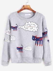 Sweat-shirt imprimé chat de cartoon -gris bruyère