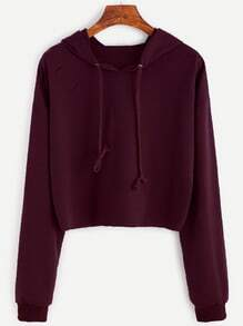 Burgundy Drop Shoulder Ripped Drawstring Hooded Sweatshirt