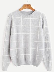 Pale Grey Grid Casual Sweater