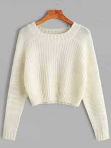 White Raglan Sleeve Crop Sweater