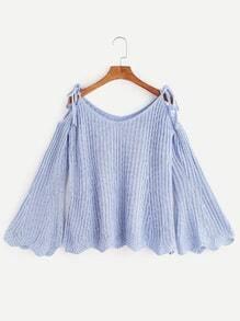 Jersey de punto de canalé de manga acampanada hombro con cordón - azul claro