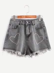 Grey Heart Embroidery Fringe Hem Denim Shorts