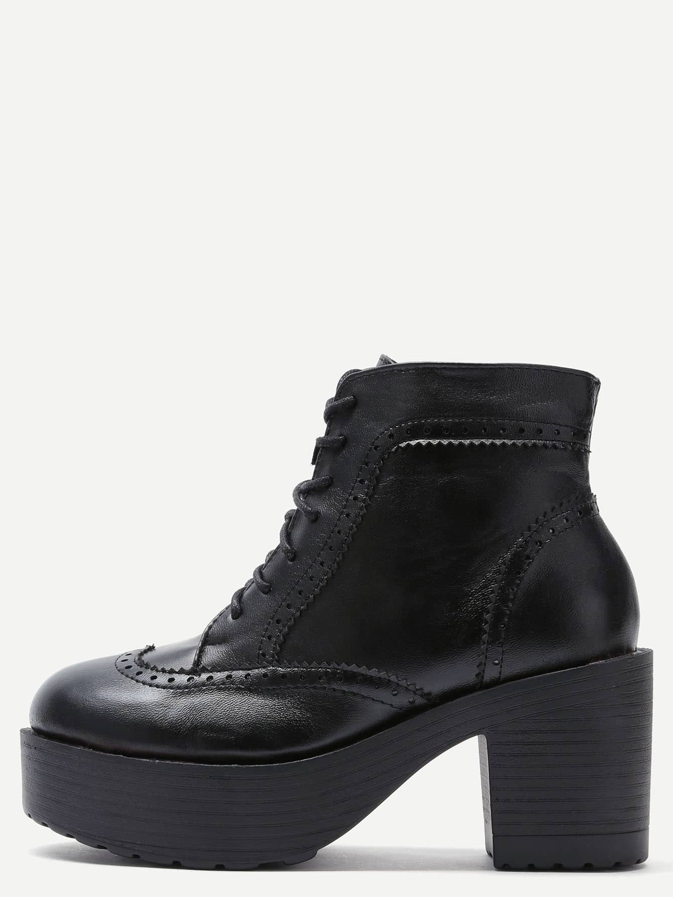 black lace up pu topstitch platform boots