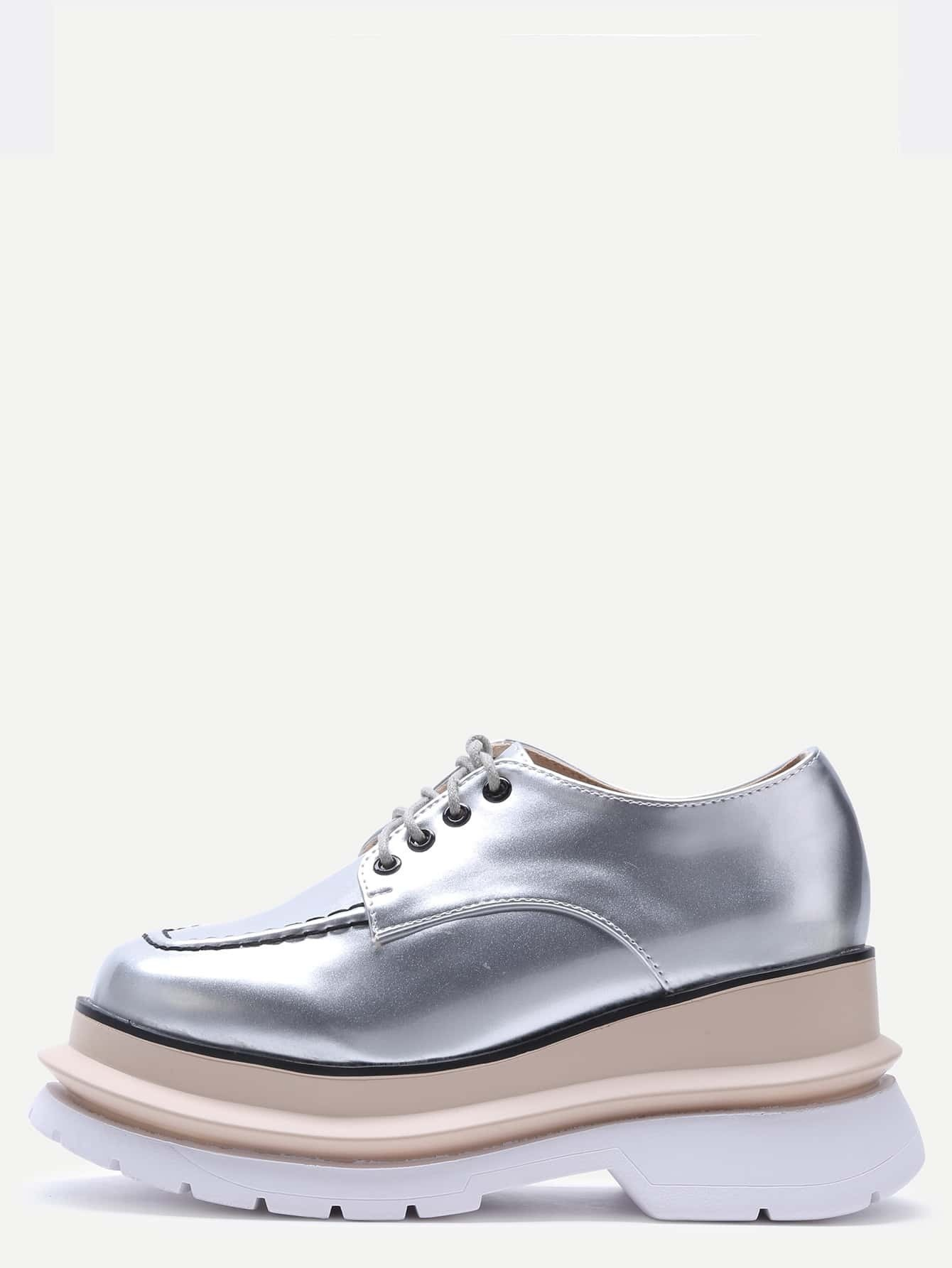 silver patent leather lace up flatform shoes