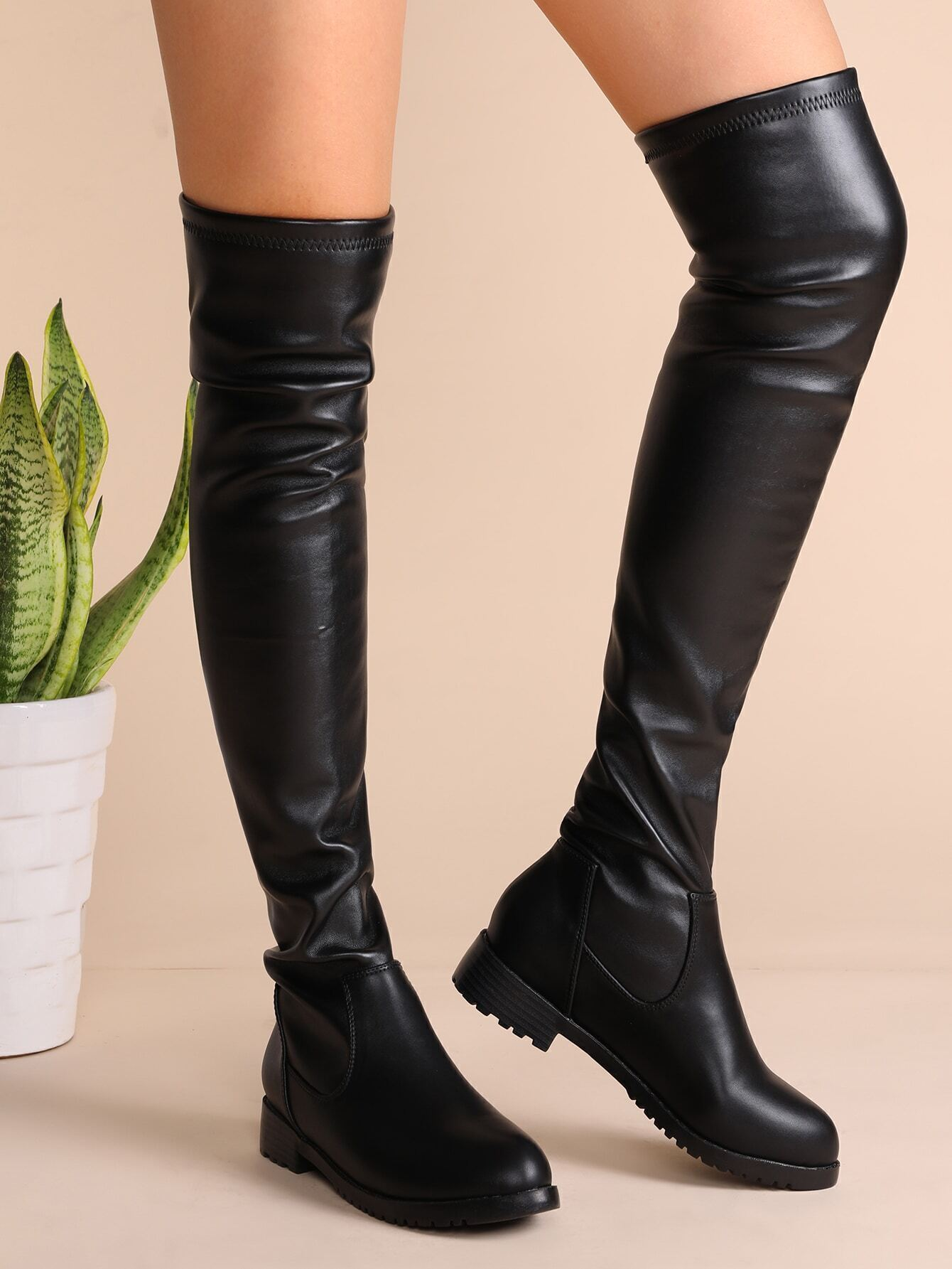 black faux leather almond toe thigh high boots