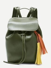 Olive Green Faux Leather Flap Top Tassel Backpack