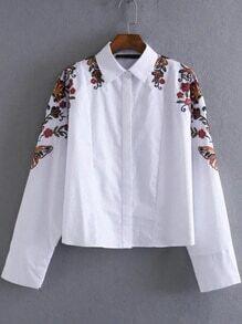 Blusa holgada con bordado floral - blanco