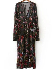 Black Floral Embroidery V Neck Sheer Mesh Maxi Dress