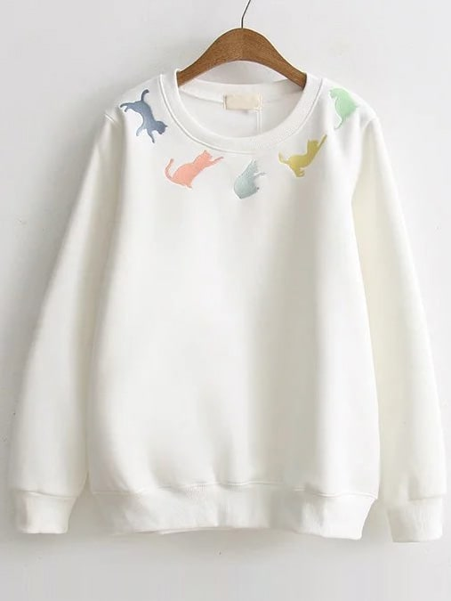 White Cat Embroidery Ribbed Trim Sweatshirt