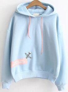 Kapuzensweatshirt Buchstaben Druck Patch-blau