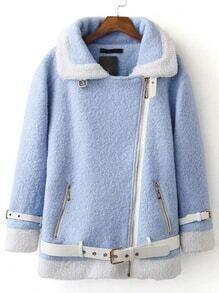 Abrigo con ribete en contraste y cinturón - azul