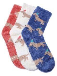 Multicolor Puppy Pattern Fluffy Thermal Socks Set