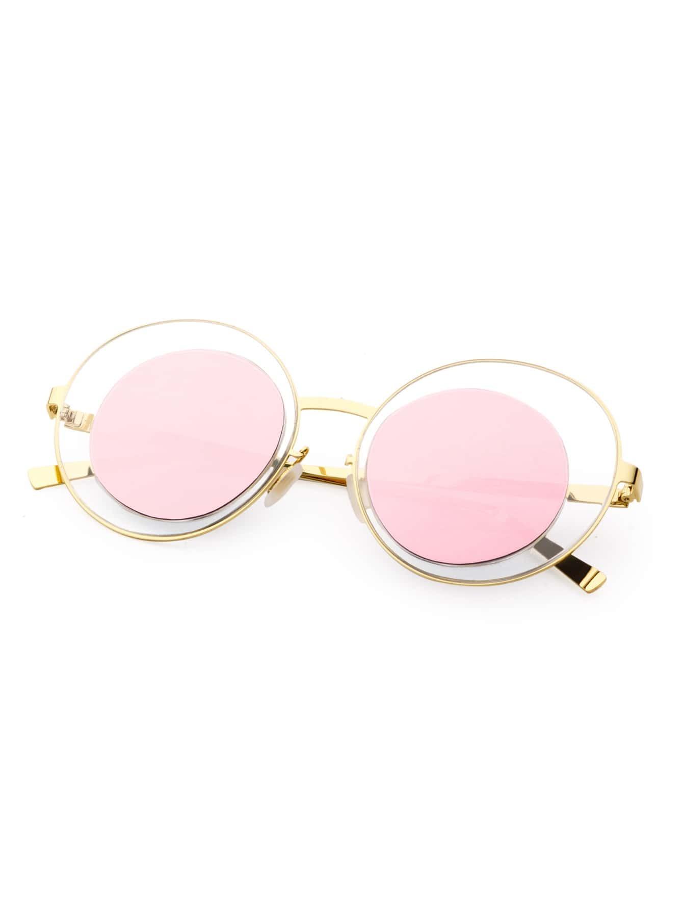 Lunettes de soleil lentille miroir dor et rose french romwe for Miroir rose gold