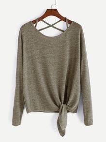 Khaki Drop Shoulder Criss Cross Tie Front T-Shirt