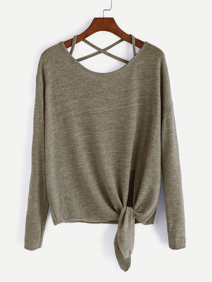Khaki Drop Shoulder Criss Cross Tie Front T-Shirt