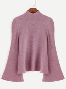 Jersey con cuello mock de manga acampanada - rosa oscuro