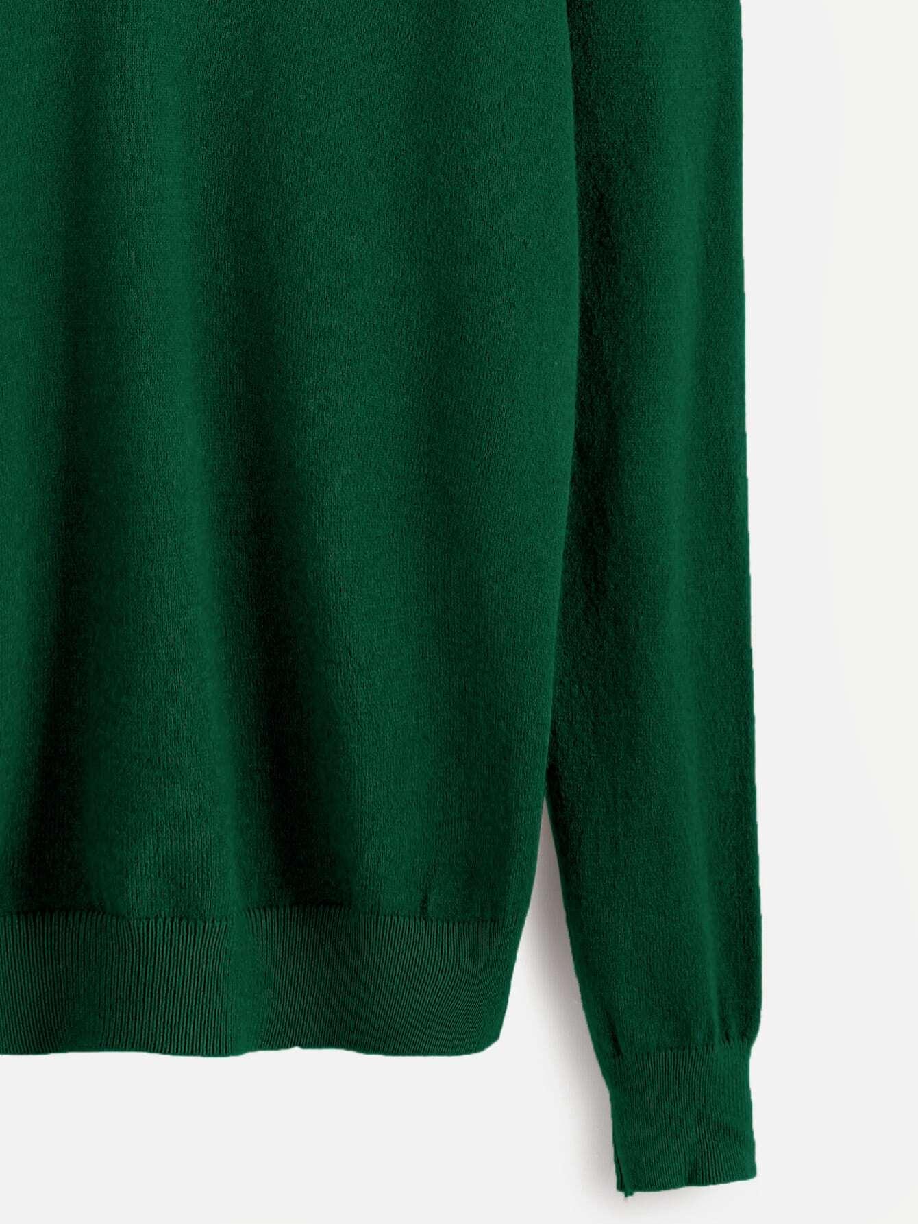 pull tricot l 39 paule ouverte vert fonc french romwe. Black Bedroom Furniture Sets. Home Design Ideas