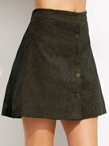 Army Green Corduroy Single Breasted A Line Skirt