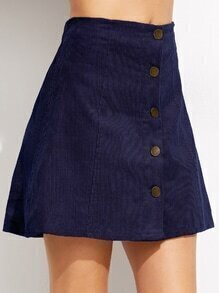 Dark Blue Corduroy Single Breasted A Line Skirt