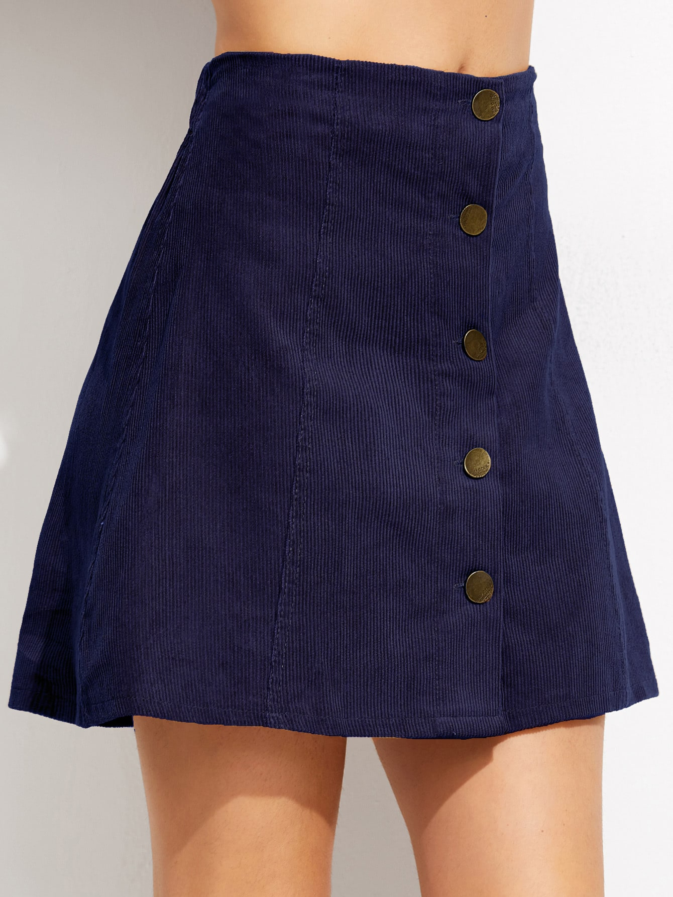 blue corduroy single breasted a line skirt