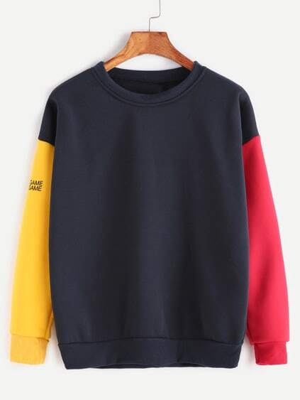 Contrast Drop Shoulder Sleeve Print Sweatshirt