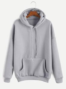 Grey Drop Shoulder Drawstring Hooded Pocket Sweatshirt