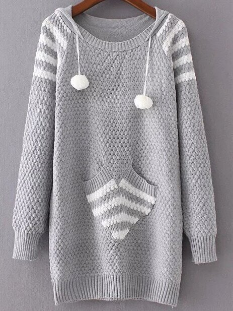 Grey Ribbed Trim Hooded Long Sweater With Pocket