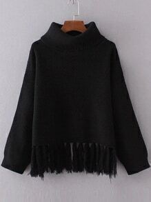 Jersey con cuello vuelto y ribete de flecos - negro