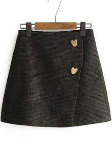 Heart Button Side Zipper Wrap Skirt