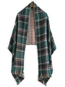 Green Tartan Plaid Fringe Edge Shawl Scarf