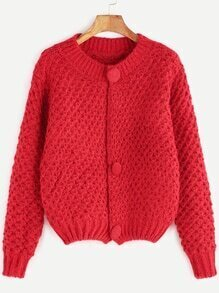 Red Button Front Chunky Knit Sweater Coat