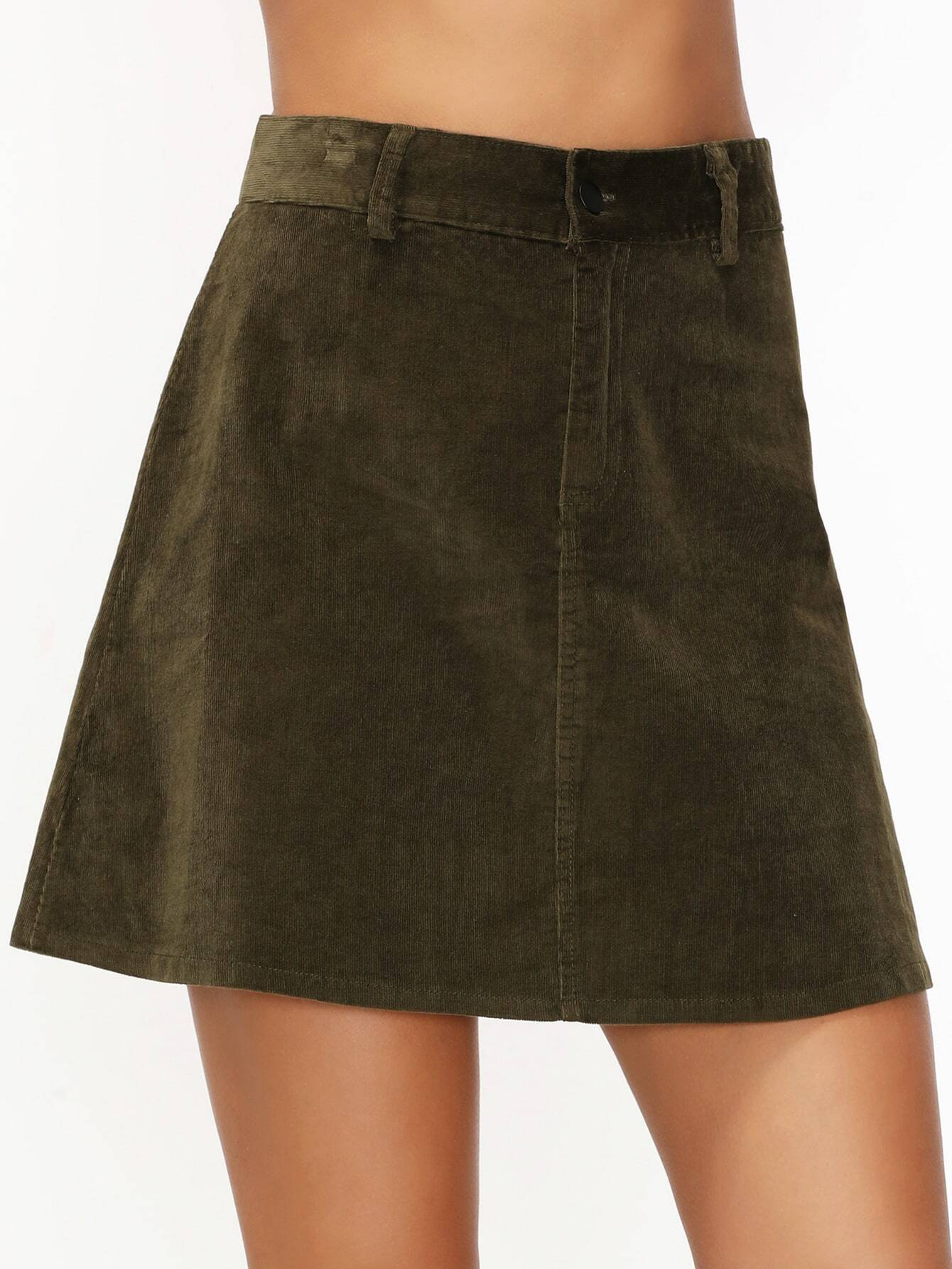 army green corduroy pockets a line skirt