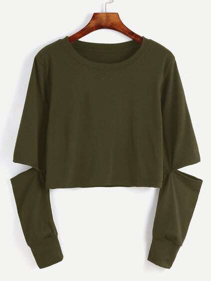 Army Green Cut Out Sleeve Crop Sweatshirt