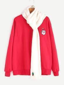 Red Father Christmas Embroidery Sweatshirt With White Scarf