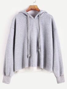 Sweat-shirt à capuche couture à l'épaule laissé -gris pâle