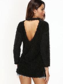 Jersey espalda en V con abertura lateral - negro