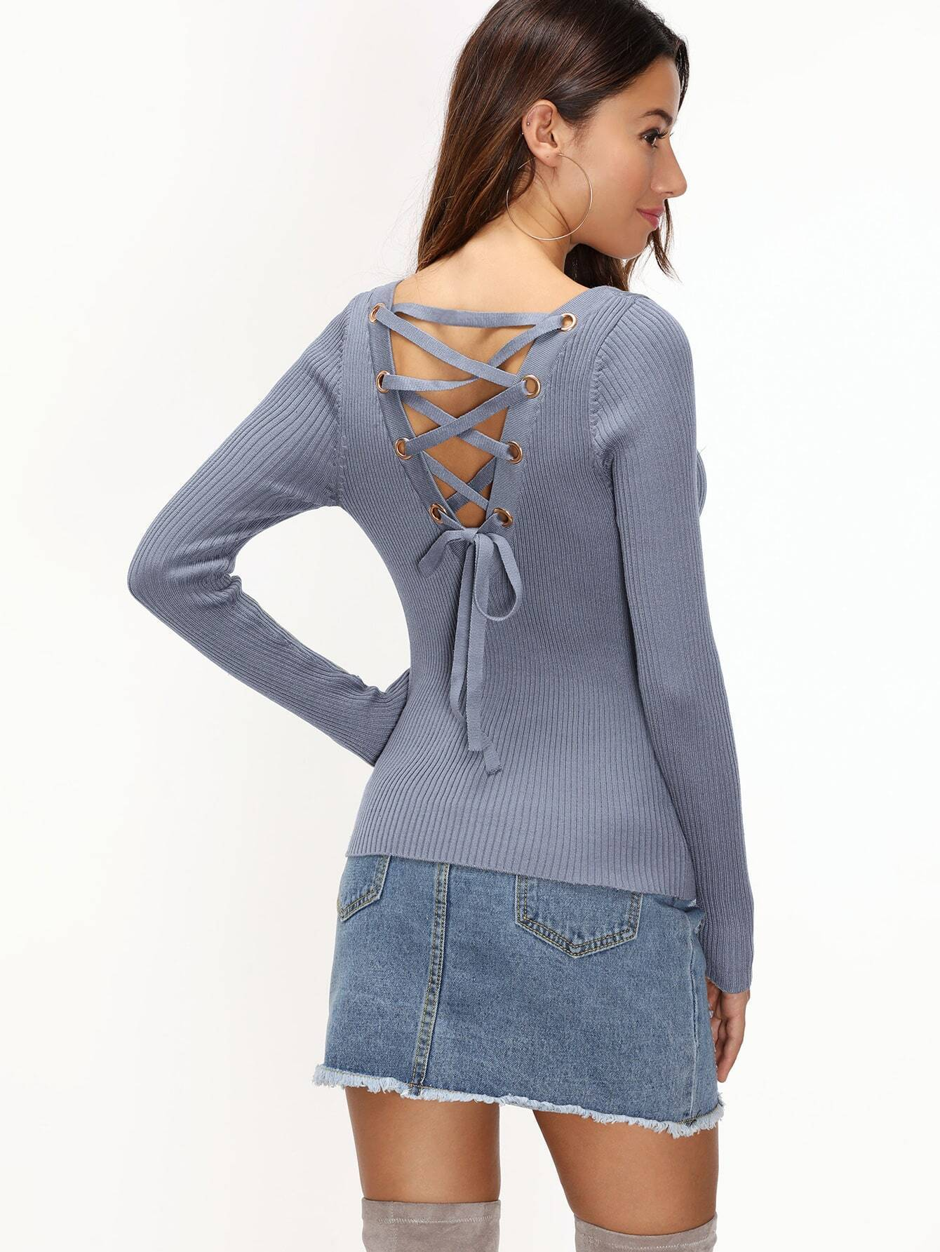Grey Metal Eyelet Lace Up Back Ribbed Knitwear