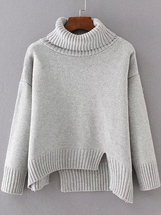 Grey Ribbed Trim Turtleneck Asymmetrical Sweater