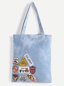 Blue Denim Badge Tote Bag